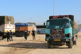 استقرار کاروان تجهیزات و تدارکات موکب جمکران در عمود 1070