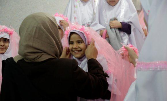 جشن تکلیف 100 فرشته 9 ساله در مرکز گل نرگس مسجد مقدس جمکران