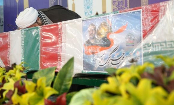 وداع با پیکر شهید مدافع حرم حاج مجید عسکری در مسجد مقدس جمکران