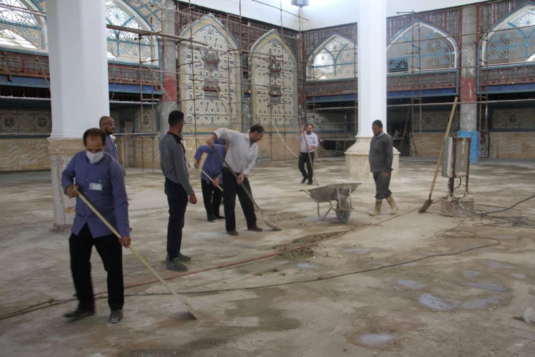 آماده سازی شبستان بقیع برای اسکان زائرین در ایام نیمه شعبان